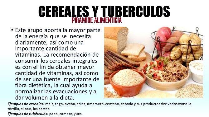 Cereales y tubérculos de la pirámide alimenticia